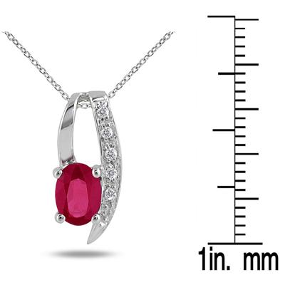 1.00 Carat Ruby and Diamond Pendant in .925 Sterling Silver