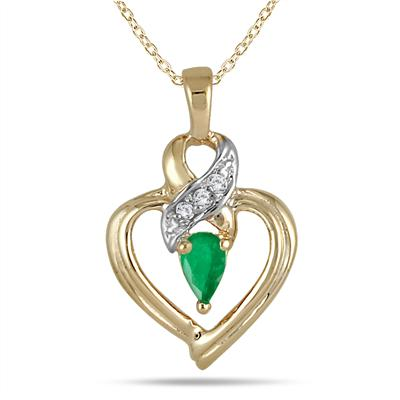 Pear Shaped Emerald and Diamond Ribbon Heart Pendant in 10k Yellow Gold