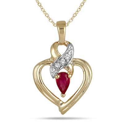 Ruby and Diamond Ribbon Heart Pendant 10k Yellow Gold