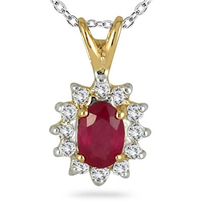 Ruby and Diamond Oval Flower Pendant