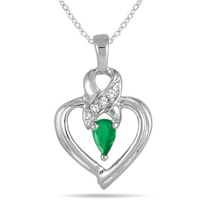 Emerald and Diamond Heart Pendant in 10K White Gold