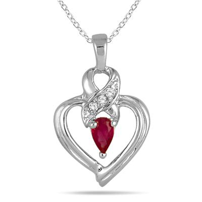 Ruby and Diamond Ribbon Heart Pendant in 10K White Gold