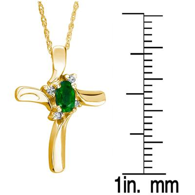 Emerald Cross Diamond Pendant 10K Yellow Gold