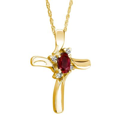 Ruby Cross Diamond Pendant 10k Yellow Gold
