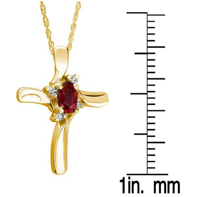 Ruby Cross Diamond Pendant 10k Yellow Gold