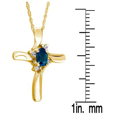 Sapphire Cross Diamond Pendant 10k Yellow Gold