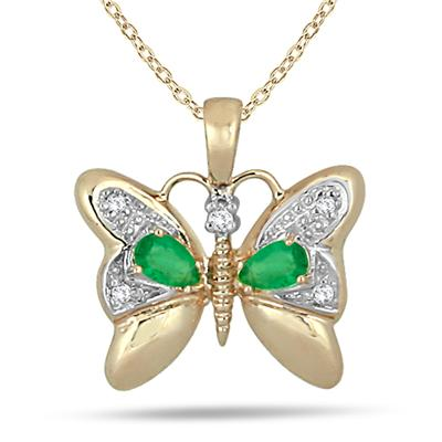 Emerald and Diamond Butterfly Pendant 14K Yellow Gold