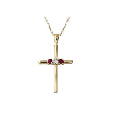 Contemporary Ruby Cross Pendant 14k Yellow Gold