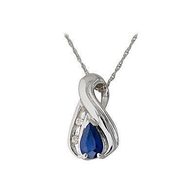 Sapphire and Diamond Twist Pendant 14kt White Gold