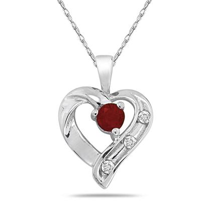 Ruby and 3 Stone Diamond Heart Pendant 14kt White Gold