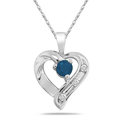 Sapphire and Diamond Heart Pendant 14kt White Gold