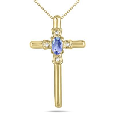 Tanzanite and Diamond Cross Pendant 10K Yellow Gold