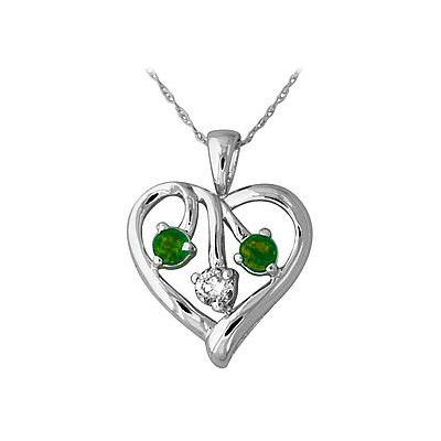 Emerald and Diamond Heart Pendant in 14kt White Gold