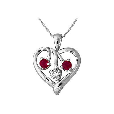 Ruby and Diamond Heart Pendant in 14kt White Gold