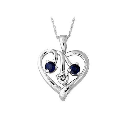 Sapphire and Diamond Heart Pendant in 14kt White Gold