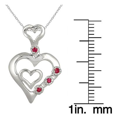 1/4 Carat Ruby Double Heart Pendant in .925 Sterling Silver