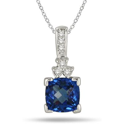8MM Cushion Cut Created Sapphire and Genuine Diamond Pendant in .925 Sterling Silver