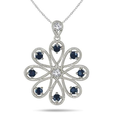 1.50 Carat Sapphire and White Topaz Pendant in .925 Sterling Silver