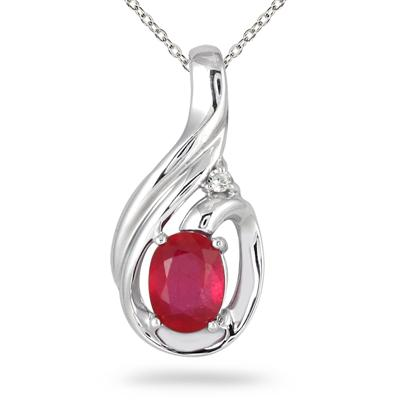 2.00 Carat Ruby and Diamond Pendant in .925 Sterling Silver
