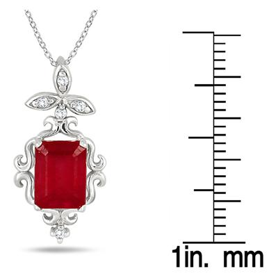 2.50 Carat Emerald Cut Ruby and Diamond Estate Styled Pendant in .925 Sterling Silver