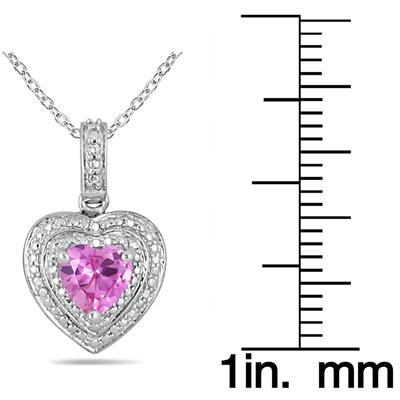 Heart Shape Created Pink Sapphire and White Topaz Pendant in .925 Sterling Silver