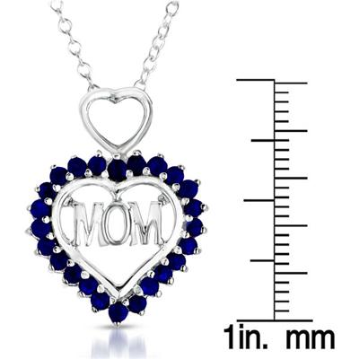 1.25 Carat Sapphire MOM Heart Pendant in .925 Sterling Silver