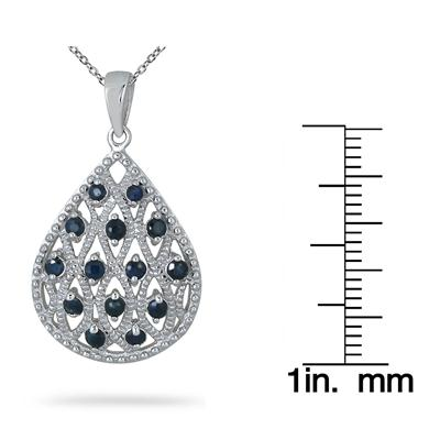 3/4 Carat Genuine Sapphire Teardrop Pendant in .925 Sterling Silver