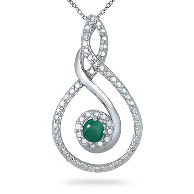 1/4 Carat Genuine Emerald and Diamond Pendant in .925 Sterling Silver