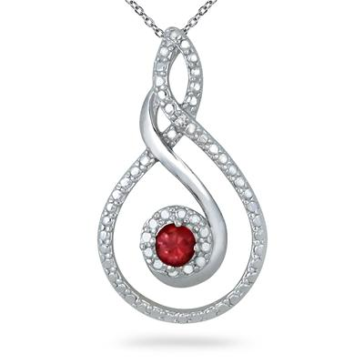 1/4 Carat Genuine Ruby and Diamond Pendant in .925 Sterling Silver