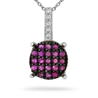 1/5 Carat Ruby and Diamond Cluster Pendant in .925 Sterling Silver