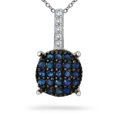 1/5 Carat Sapphire and Diamond Cluster Pendant in .925 Sterling Silver