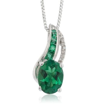 Created Oval and Princess Emerald and Diamond Pendant in .925 Sterling Silver