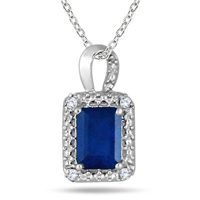 1.50 Carat Emerald Cut Sapphire and Diamond Pendant in .925 Sterling Silver
