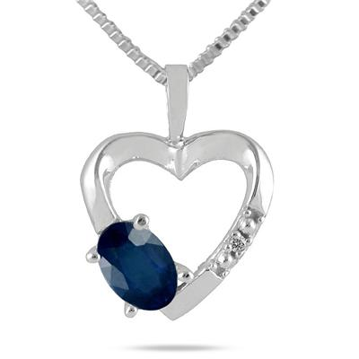 Sapphire and Diamond Heart Pendant in 10kt White Gold