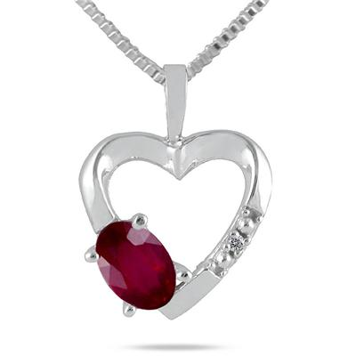 10-kt. Ruby and Diamond Heart Pendant