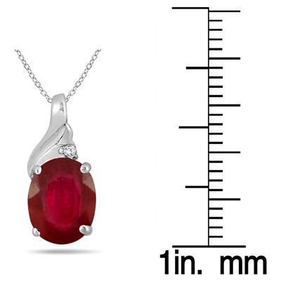 2.25 Carat Oval Ruby and Diamond Pendant in .925 Sterling Silver