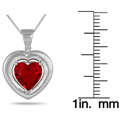 2.80 Carat Created Ruby and Genuine Diamond Pendant in .925 Sterling Silver