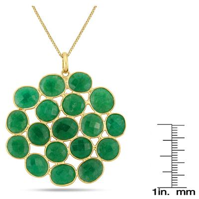 45 Carat All Natural Emerald Pendant in 18K Yellow Gold Plated Sterling Silver