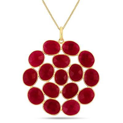 45 Carat All Natural Ruby Pendant in 18K Yellow Gold Plated Sterling Silver