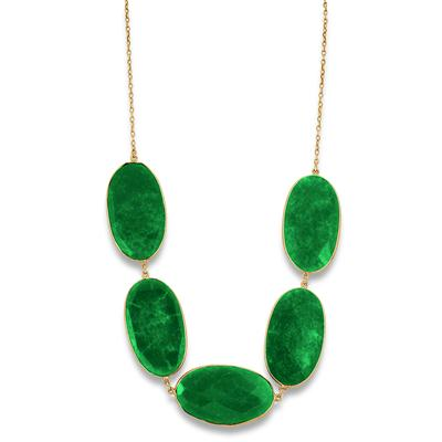150 Carat Rough Onyx Emerald Necklace in 18K Plated Sterling Silver