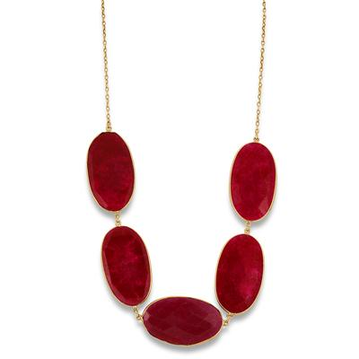 150 Carat Rough Onyx Ruby Bubble Necklace in 18K Gold Plated Sterling Silver
