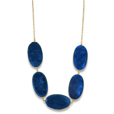150 Carat Rough Onyx Sapphire Necklace in 18K Plated Sterling Silver