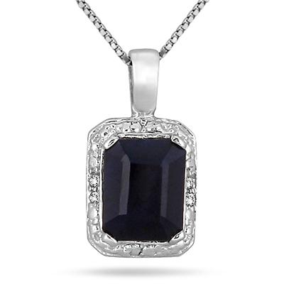 2.65 Carat Emerald Cut Sapphire and Diamond Pendant in .925 Sterling Silver
