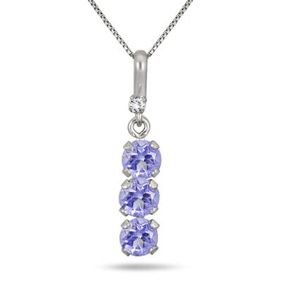 4MM Round Tanzanite and Diamond Pendant in .925 Sterling Silver