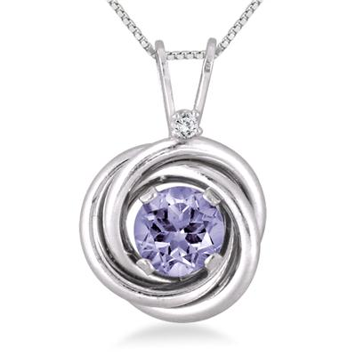 3/4 Carat Tanzanite and Diamond Infinity Pendant in .925 Sterling Silver