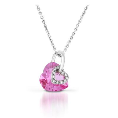 10 MM Heart Shape Created Pink Sapphire and Diamond Pendant in .925 Sterling Silver