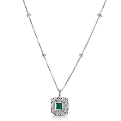 1.25 Carat Cushion Cut Created Emerald and Diamond Necklace in .925 Sterling Silver