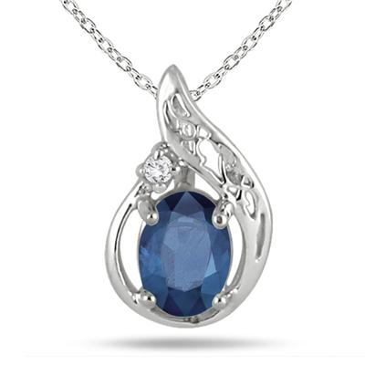 1 Carat Sapphire and Diamond Pendant in .925 Sterling Silver