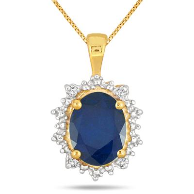 2.50 Carat Sapphire and Diamond Pendant in 18K Gold Plated Sterling Silver