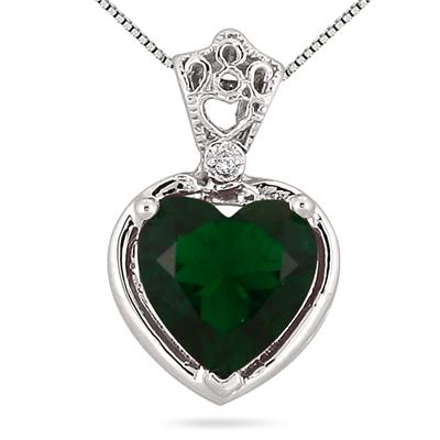10MM Heart Shape Lab Created Emerald and Genuine Diamond Pendant in .925 Sterling Silver